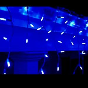 Blue LED Holiday Icicle String Light Strip